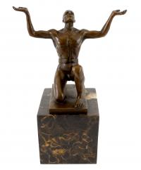 Bronze on Marble - Kneeling Adonis - signed by Milo