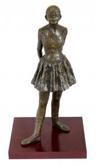 Bronze Sculpture on a Red Wooden Base - Fourteen Year Old Dancer - Edgar Degas - signed