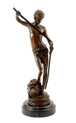 David with the Head of Goliath - Signed Bronze Sculpture - Antonin Mercié