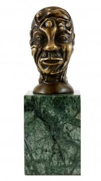 Erotic Bronze Head with Women's Relief - signed by Martin Klein