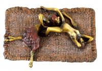 Erotic Rendezvous between a Faun and a Maid - Real Bronze