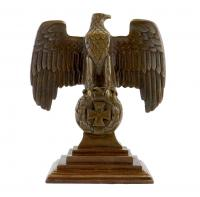 Imperial Eagle on an Iron Cross in a Wreath of Oak Leaves - Bronze