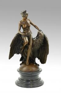 Virgin with an Eagle - Bronze Nude - after L. C. Buhot