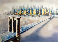 Oil Painting by Martin Klein - Brooklyn Bridge in New York - signed