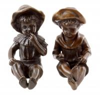 Two Children Figures - Bronze Statuettes with Signature
